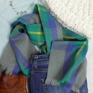 Vintage Jewel Tone Plaid Scarf Wrap Tie